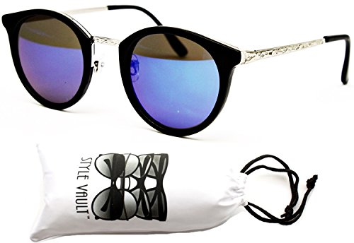 [V155-vp 80s Round Circle Vintage Retro Sunglasses (Sinrv Mt.black/silver-blue mirror, uv400)] (80s Style Men)