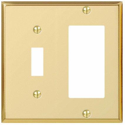 Jackson-Deerfield Mfg. 9BS126 Bright Polished Brass Steel Combination Wall Plate