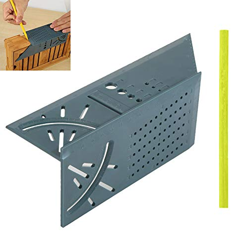 45 Degree Rule - Neepanda Woodworking Square Size Measure Ruler with Carpenter Pen,Woodworking 3D Mitre Angle Measuring Tool with Gauge & Ruler for Three Dimensional Items Measuring Timber, Pipes,Etc