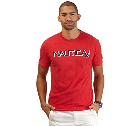 Nautica Big and Tall Mens Short Sleeve Logo T-Shirt (Red 3X)