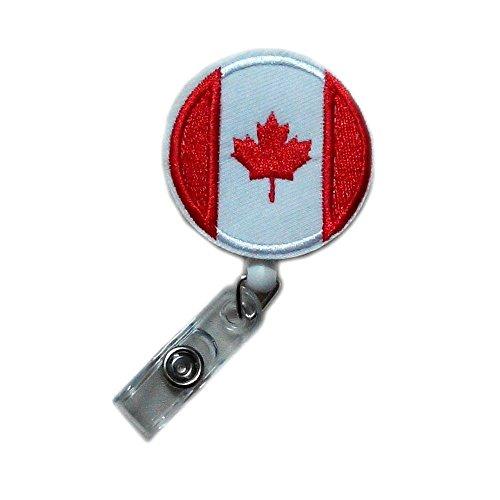abpefu Fashion Retractable Applique Canada Canadian Maple Leaf Flag Reels ID Clip Card Document Badge Holder ()