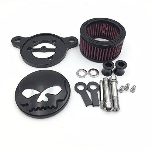 HTT GROUP Black Skull Eyes Air Cleaner Intake Filter System Kit For Harley Sportster XL883 XL1200 1988 1989 1990 1991 1992 1993 1994 1995 1996 1997 1998 1999 2010 2011 2012 2013 2014 (Skull Air Cleaner Kit)