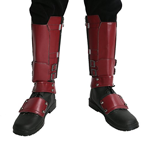 xcoser DP Wade Wilson Shoes Deluxe Black Red PU Adult Cosplay Costume Boots Accessory Prop -
