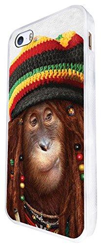 064 - Rasta Monkey Jamaican Style Design iphone SE - 2016 Coque Fashion Trend Case Coque Protection Cover plastique et métal - Blanc