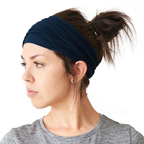 (CHARM mens Elastic Bandana Headband Japanese Long Hair Dreads Head wrap Navy)