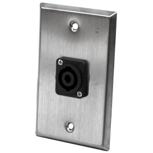 (Seismic Audio SA-PLATE27 Stainless Steel Wall Plate with 4 Pole Speakon Connector- Stainless Steel Wall Plate)