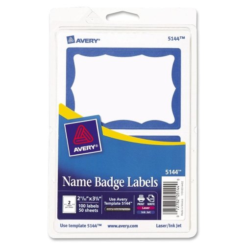 (Avery 5144 Name Badge Labels, 2-11/32-Inch x3-3/8-Inch, 100/PK, Blue Border )