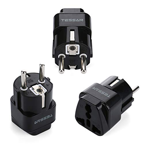 TESSAN Universal Travel Plug Adapter USA to The Most of Europe Travel Prong Adapter Plug Kit (Germany/FranceType E/F(White))