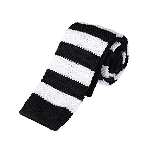 Thin Mens Necktie - DAO3A01E Black White Stripes Leadership For Marriage Skinny Knit Neck Tie Woven Microfiber Classy Internet By Dan Smith
