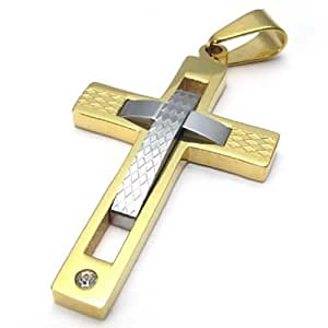 """24"""" KONOV Polished Stainless Steel Men's Cross Necklace Pendant, Gold Silver, 24 inch Chain"""