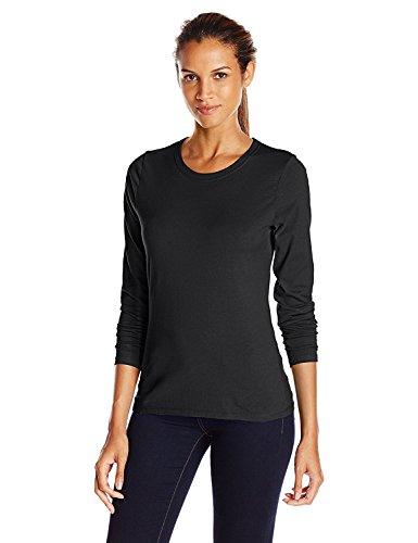 Hanes Women's Long-Sleeve Crewneck T-Shirt_Ebony_X-Large_Ebony_X-Large by Hanes