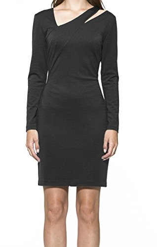 (Alexia Admor Women's Large Cutout Long Sleeve Sheath Dress Black L)