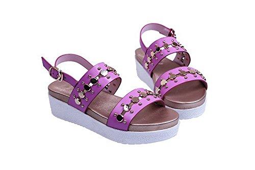 AllhqFashion Womens Open Round Toe Kitten Heels Cow Leather Solid Sandals with Metal Nail Purple blDIrbb5sq