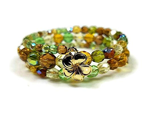 Green and Amber Czech Fire Polished Beaded Memory Wire Bracelet with 22K Gold-Plated Flower Charm, 6-1/2 Wraps