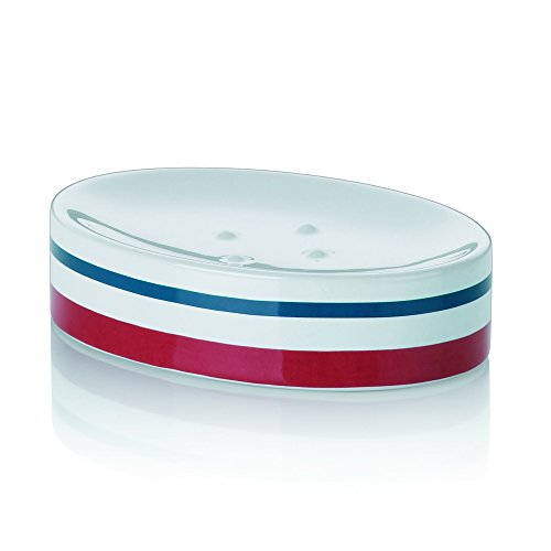Kela Soap Dish Atlantic Collection, Red/White/Blue