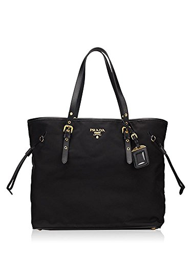 Prada Tessuto Saffian Large Black Nylon and Leather Shopping Tote Bag - Shopping Prada Bag