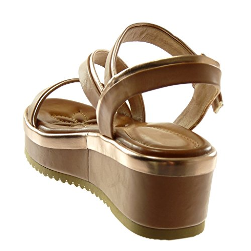 Angkorly Damen Schuhe Sandalen Mule - Knöchelriemen - Plateauschuhe - Bicolor - Multi-Zaum - Metallisch Keilabsatz High Heel 6 cm Beige