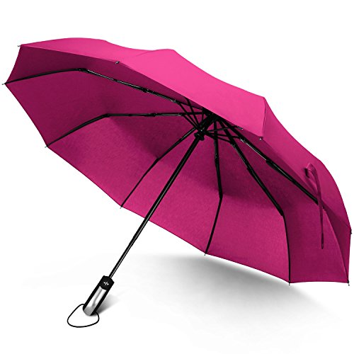 Rainlax Travel Umbrella Unbreakable Lightweight 10 Ribs Automatic Compact Windproof Canopy Umbrellas For Men Women One Handed Operation  Rose Red