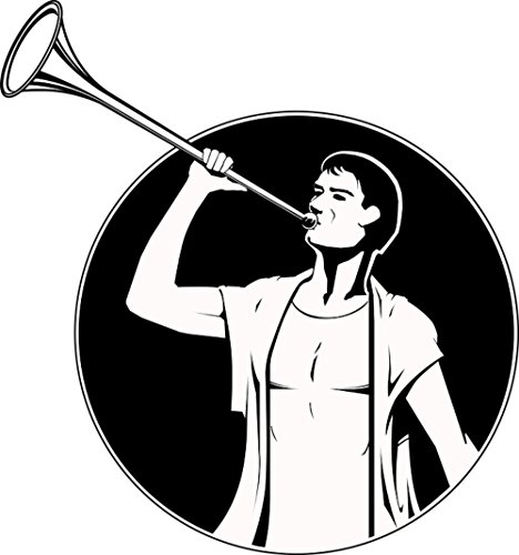 Fanfare Brass - Gifts Delight LAMINATED 24x25 inches Poster: Fanfare Musical Instrument Blowers Brass Instrument Instrument Man Sketch Hand Drawn Sketch Black And White