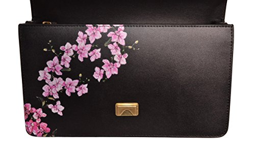 Borsa Pinko Love Me Tender Flowers in Pelle Nera con Stampa Floreale Fiori Rosa Lilla Logo e Catena Tracolla Color Oro 1P2135Y4JCZ99