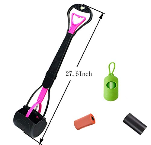 New Trends 27.6Inch Long Handle pet Poop Scooper Include Strong Poop Scooper and Rubbish Bags Easy to Don't Bend Over…
