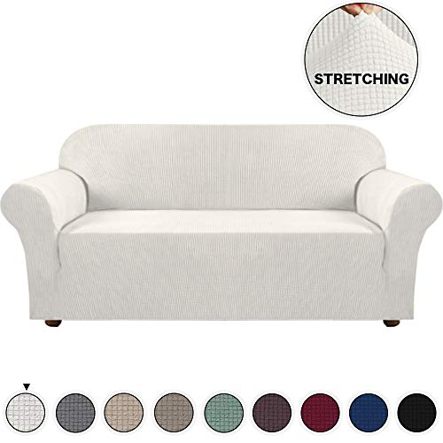 Turquoize Sofa Covers Slipcovers for Furniture Sofa, Khaki Spandex Slipcover/Lounge Cover, Stretch Anti-Wrinkle Slip Resistant Form Fit Slipcover 3 Seater Sofa Cover Ivory