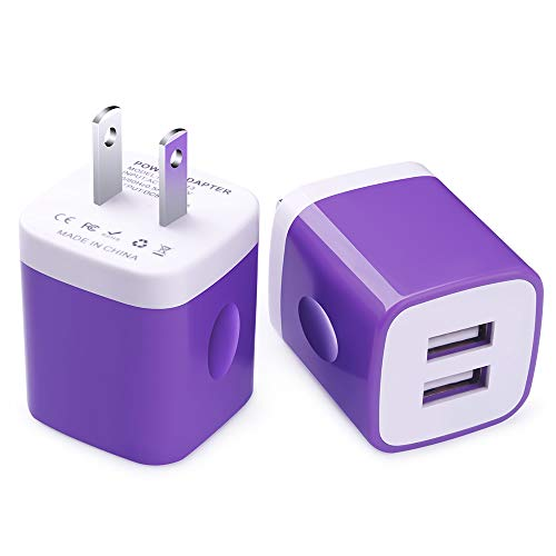 Charging Brick, Charger Box, FiveBox 2-Pack 2.1A Dual Port USB Wall Charger Adapter Charger Base Charging Block Plug Charger Cube Compatible iPhone Xs/XS Max/XR/X/8/8 Plus/7, iPad, Samsung S10 S9, LG