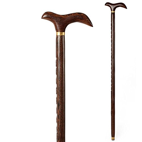 Yaxuan Walking Stick Chicken Wing Old Mahogany Cane Crutches Wood Men Cane Scorched Cherry Hardwood (Cherry Scorched)
