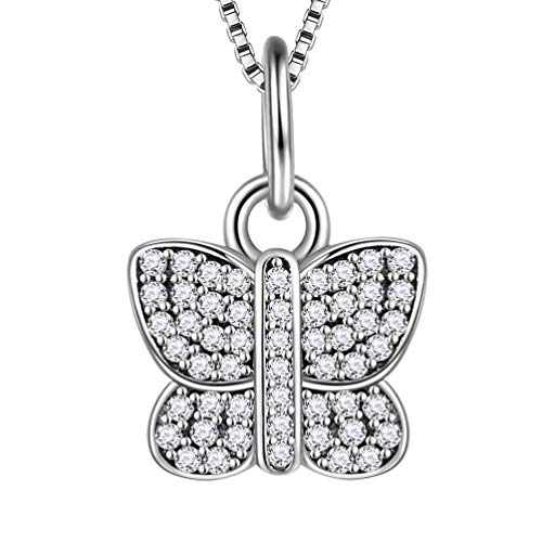 Aurora Tears 925 Sterling Silver Charms Butterfly Necklaces Women Crystal Little Butterflies Pendant Cubic Zirconia Girls Dating Gift Cute Animal Jewelry DP0036K