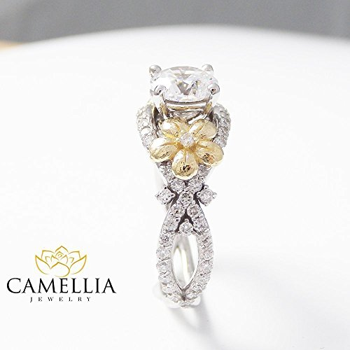 Forever Brilliant Moissanite Ring 14K 2 Tone Gold Wedding Ring Flower Design Custom Ring with Natural Side Diamonds Nature Inspired Engagement Ring Unique Alternative Bridal Ring