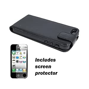 Black Vertical Leather Folio w/ Tab Apple iPhone 5 Cover Case w/ Screen Protector