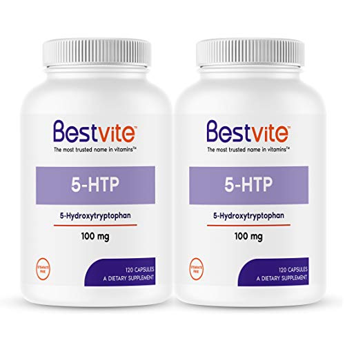 5-HTP 100mg (240 Capsules) (2-Pack) - No Stearates or Flow Agents - Gluten Free - Non GMO