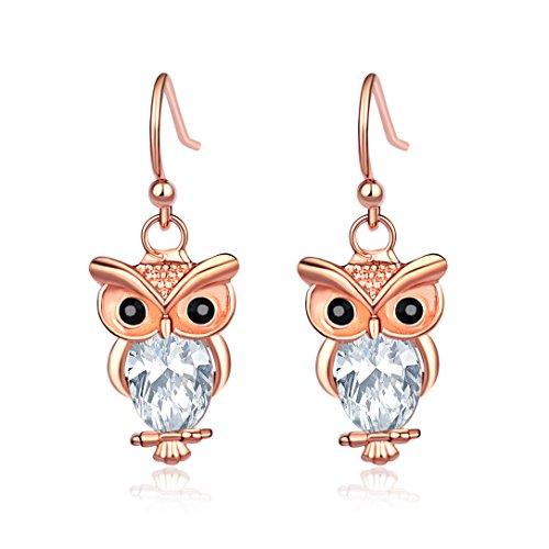 CHUYUN Rose Gold Color Cute Animal Owl Dangle Drop Earrings Cubic Zirconia Women Jewelry (rose (Novelty Earrings)