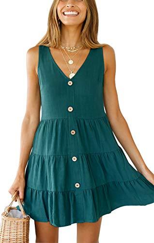 Ruffle Bottom Tank Dress - ANDUUNI Womens V Neck Sleeveless Short Ruffles Short Dresss Summer A line Swing Mini Dress with Buttons