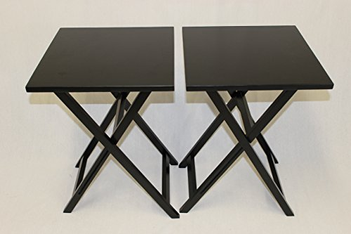 eHemco Ez Folding TV Tray Table Square Top – Hard Wood in Black Set of 2