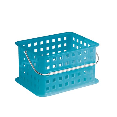 InterDesign Storage Organizer Basket, for Bathroom, Health and Beauty Products - Small, Azure