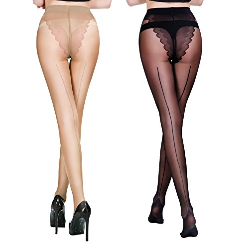 FANCAME Women's Sheer Control Top Tights Back Seam Compression Pantyhose Socks 2 Pack (Large, Black + - Nude Women Quality