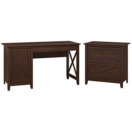 Bush Furniture Key West 54W Computer Desk with Storage and 2 Drawer Lateral File Cabinet in Bing Cherry