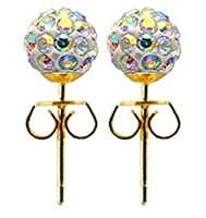 Shamballa gold plated stud earrings size 8MM bling bling!! CZ crystal ball