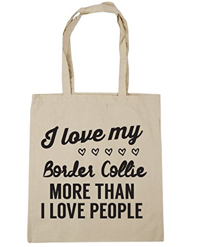 Natural Bag I my x38cm collie Shopping love litres I more 10 Tote Gym than people love 42cm HippoWarehouse Beach border w6H0q