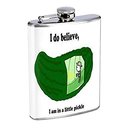 Amazon com : Pickle Pun Hip Flask Stainless Steel 8 Oz