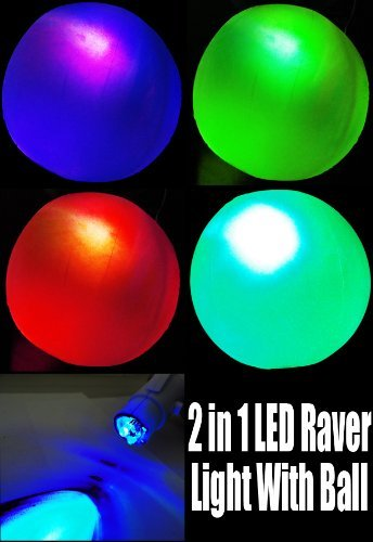 (Flashing Panda Inflatable LED Flashing Multicolor 12 Inch Beach Ball or Decorative Lantern)