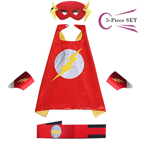 Superhero Dress Capes Set for Kids - Child DIY Superhero Themed Birthday Halloween Party Dress up 5-Pack Set (Flash) ()