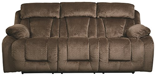 Cheap Ashley Furniture Signature Design – Stricklin Power Reclining Sofa – Contemporary Upholstered Recliner – Chocolate