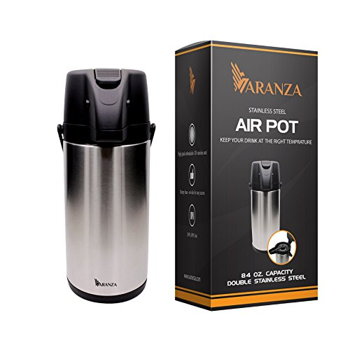 Varanza Double Walled Stainless Steel Air Pot-Insulated Beverage Dispenser for Hot and Cold Drinks-Thermal Carafe with Pump and Lev by Varanza