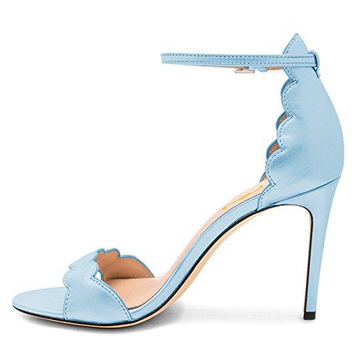 Sandals Piece Toe Open 4 Heels Stylish Stilettos US Two 15 Size Pumps FSJ High Blue Ankle Strap Women Shoes HIpPPqw