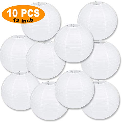 LURICO 10 Packs 12 Inch White Paper Lanterns Round Chinese/Japanese Hanging Ball Lantern Lamps for Birthday Wedding Christmas Parties, Home Decor and Weddings -