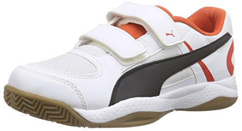 Puma Veloz Indoor II V Jr, Unisex-Kinder Hallenschuhe, Weiß (white-black-puma red 03), 36 EU (3.5 Kinder UK)