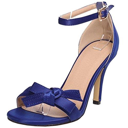 TAOFFEN Mujer Elegante Correa de Tobillo Hebilla Bowknot Verano Fiesta Tacon Alto Sandalias Azul