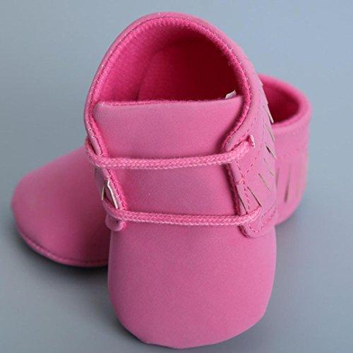 Tefamore Tassels Zapatos primeros pasos bebes de antideslizante de sole suave de moda invierno de calentar Rojo